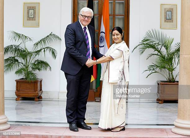 German Foreign Minister FrankWalter Steinmeier meets with Sushma Swaraj Foreign Minister of India on September 08 2014 in New Delhi India Steinmeier...