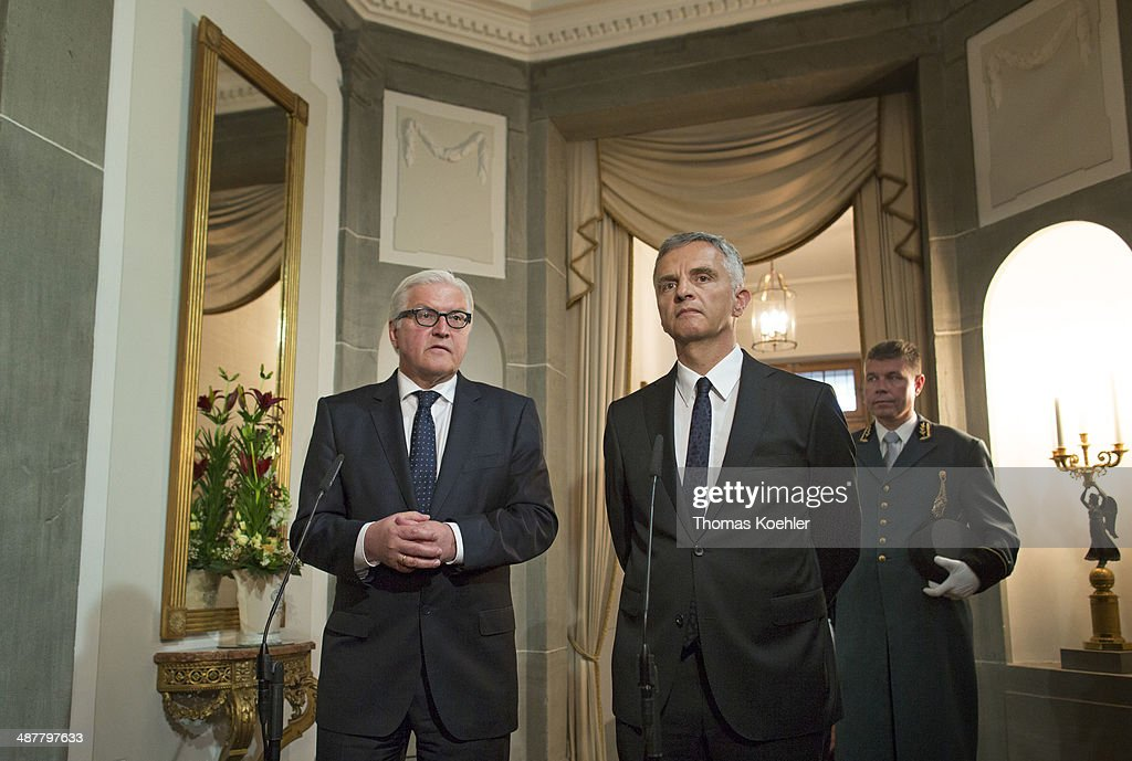 German Foreign Minister <a gi-track='captionPersonalityLinkClicked' href=/galleries/search?phrase=Frank-Walter+Steinmeier&family=editorial&specificpeople=603500 ng-click='$event.stopPropagation()'>Frank-Walter Steinmeier</a> (L) meets with Swiss OSCE Chairperson-in-Office <a gi-track='captionPersonalityLinkClicked' href=/galleries/search?phrase=Didier+Burkhalter&family=editorial&specificpeople=6269147 ng-click='$event.stopPropagation()'>Didier Burkhalter</a> on Mai 02, 2014 in Bern, Switzerland. They will talk about next steps on the ongoing Ukrainian conflict.