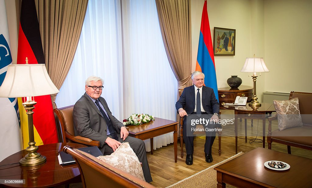 German Foreign Minister Frank-Walter Steinmeier (L) meets with the Edward Nalbandian (R), Foreign Minister of Armenia, on June 29, 2016 in Yerewan, Armenia. Steinmeier is on a three-day visit to the South Caucasus countries Armenia, Azerbaijan and Georgia.