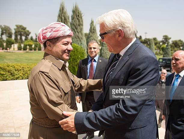 German Foreign Minister FrankWalter Steinmeier meets with the President of the Kurdistan autonomous region in northern Iraq Massoud Barzani on on...