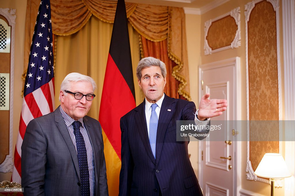 German Foreign Minister Frank-Walter Steinmeier (L) meets with U.S. Secretary of State John Kerry on November 22, 2014 in Vienna, Austria. Negotiatiors with U.S., Britain, China, France, Germany and Russia are meeting with Iran to finalize an interim deal over Iran's nuclear program.