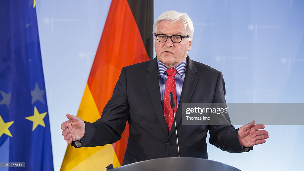 German Foreign Minister <a gi-track='captionPersonalityLinkClicked' href=/galleries/search?phrase=Frank-Walter+Steinmeier&family=editorial&specificpeople=603500 ng-click='$event.stopPropagation()'>Frank-Walter Steinmeier</a> participates in a press conference with Hungarian Foreign Minister Tibor Navracsics at the foreign ministry on July 21, 2014 in Berlin, Germany.