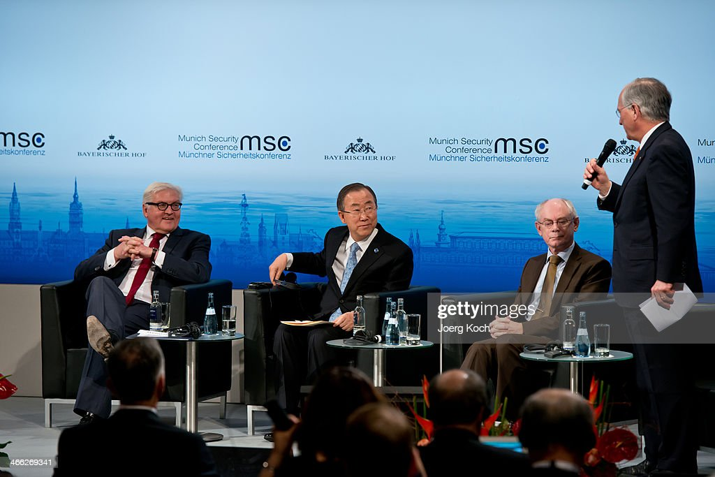 German Foreign Minister <a gi-track='captionPersonalityLinkClicked' href=/galleries/search?phrase=Frank-Walter+Steinmeier&family=editorial&specificpeople=603500 ng-click='$event.stopPropagation()'>Frank-Walter Steinmeier</a>, Secretary-General of the United Nations Ban Ki-moon, European Council President <a gi-track='captionPersonalityLinkClicked' href=/galleries/search?phrase=Herman+Van+Rompuy&family=editorial&specificpeople=4476281 ng-click='$event.stopPropagation()'>Herman Van Rompuy</a> and <a gi-track='captionPersonalityLinkClicked' href=/galleries/search?phrase=Wolfgang+Ischinger&family=editorial&specificpeople=2671154 ng-click='$event.stopPropagation()'>Wolfgang Ischinger</a>, chairman and organizer of the 50th MSC during the 50th Munich Security Conference at the Bayerischer Hof hotel on February 1, 2014 in Munich, Germany. The annual event brings together leading representatives from nations across the globe and among this year's main topis of discussion are the war in Syria, security vs. freedom in cyberspace and the future of European defense.