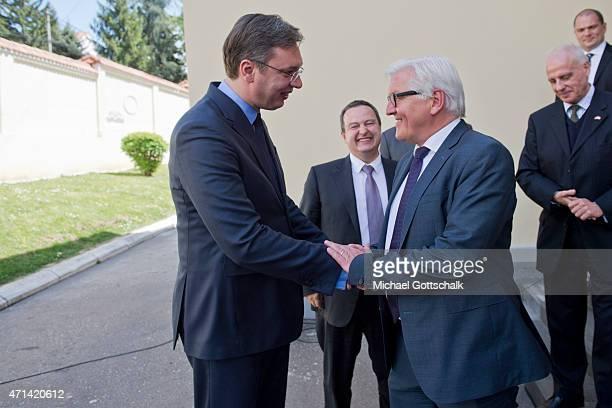 German Foreign Minister FrankWalter Steinmeier Serbian Prime Minister Aleksandar Vucic and Serbian foreign minister Ivican Dacic meet in a government...