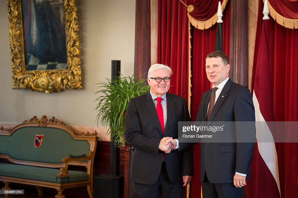 German Foreign Minister <a gi-track='captionPersonalityLinkClicked' href=/galleries/search?phrase=Frank-Walter+Steinmeier&family=editorial&specificpeople=603500 ng-click='$event.stopPropagation()'>Frank-Walter Steinmeier</a> (L) shakes hands with President of Latvia Raimonds Vejonis on May 27, 2016 in Riga, Latvia. Steinmeier traveled to Lithuania, Latvia and Estonia for political conversations.