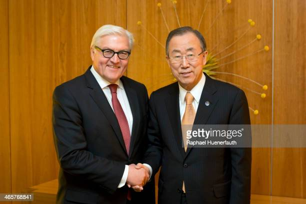 German Foreign Minister FrankWalter Steinmeier shakes hands with UN Secretary General Ban KiMoon on January 29 2014 in Berlin Germany Ban KiMoon will...