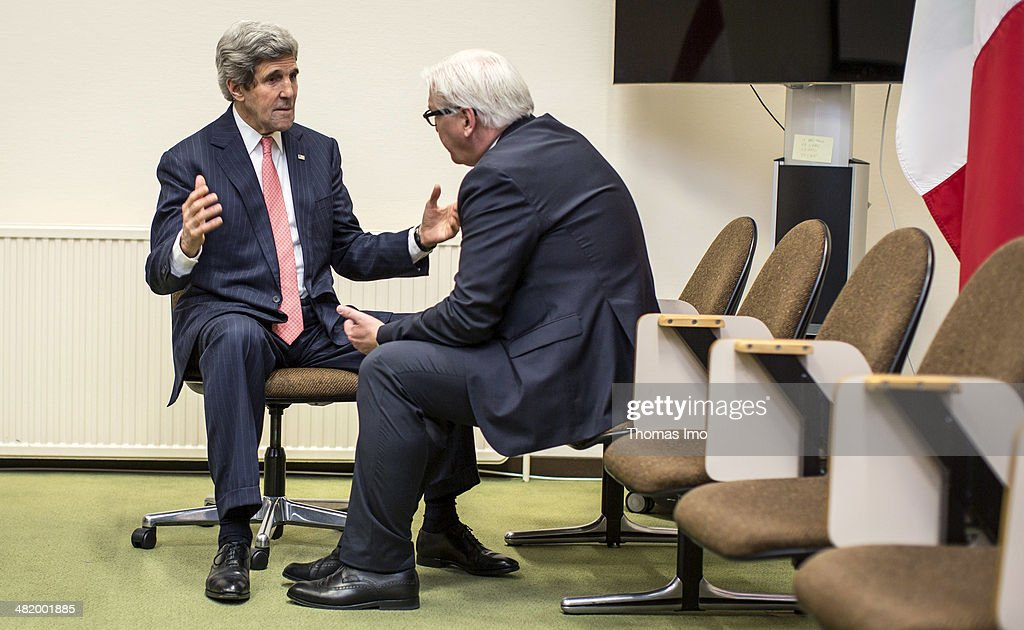 German Foreign Minister FrankWalter Steinmeier SPD and Foreign Minister of the United States of America John Kerry meet at Foreign Minister Meeting...