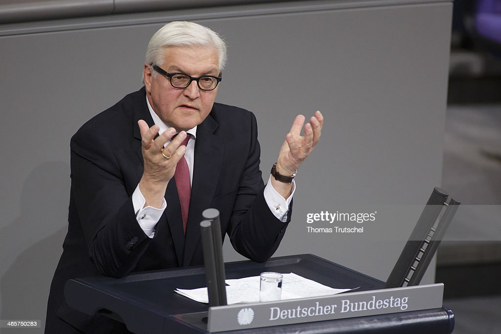 German Foreign Minister <a gi-track='captionPersonalityLinkClicked' href=/galleries/search?phrase=Frank-Walter+Steinmeier&family=editorial&specificpeople=603500 ng-click='$event.stopPropagation()'>Frank-Walter Steinmeier</a> speaks at Reichstag, the seat of the German Parliament (Bundestag) to give a Government Declarationon January 29, 2014 in Berlin, Germany.