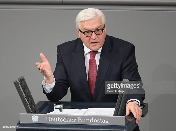 German Foreign Minister FrankWalter Steinmeier speaks at the Bundestag during debates following a government declaration given by German Chancellor...