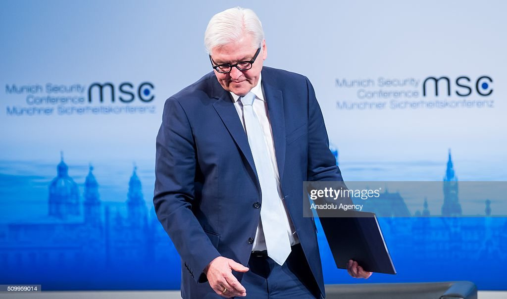 German Foreign Minister Frank-Walter Steinmeier speaks during the 2016 Munich Security Conference at the Bayerischer Hof hotel on February 13, 2016 in Munich, Germany. The annual event brings together government representatives and security experts from across the globe and this year the conflict in Syria will be the main issue under discussion.