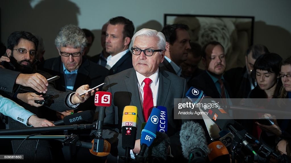 German Foreign Minister Frank-Walter Steinmeier speaks to journalists ahead of talks of the International Syrian Support Group Meeting in Munich, on February 11, 2016.