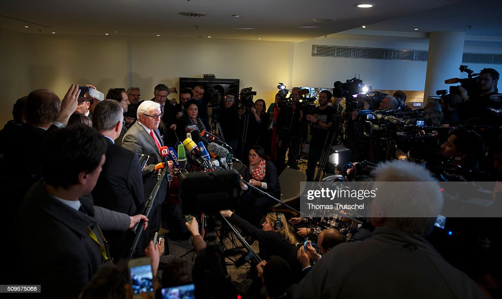 German Foreign Minister Frank-Walter Steinmeier speaks to the media before a meeting of the International Syria Support Group (ISSG) on Februar 11, 2016 in Munich, Germany. The participants will discuss the implementation of the Vienna principles, UN Security Council resolution 2254 on Syrian reconciliation and the continuation of the Geneva peace talks.