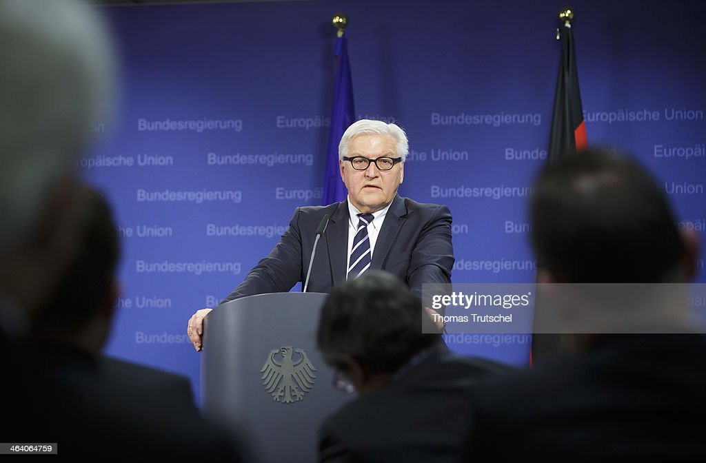 German Foreign Minister <a gi-track='captionPersonalityLinkClicked' href=/galleries/search?phrase=Frank-Walter+Steinmeier&family=editorial&specificpeople=603500 ng-click='$event.stopPropagation()'>Frank-Walter Steinmeier</a> speaks to the media on January 20, 2014 in Brussels, Belgium. Steinmeier is on a one day trip to Brussels.