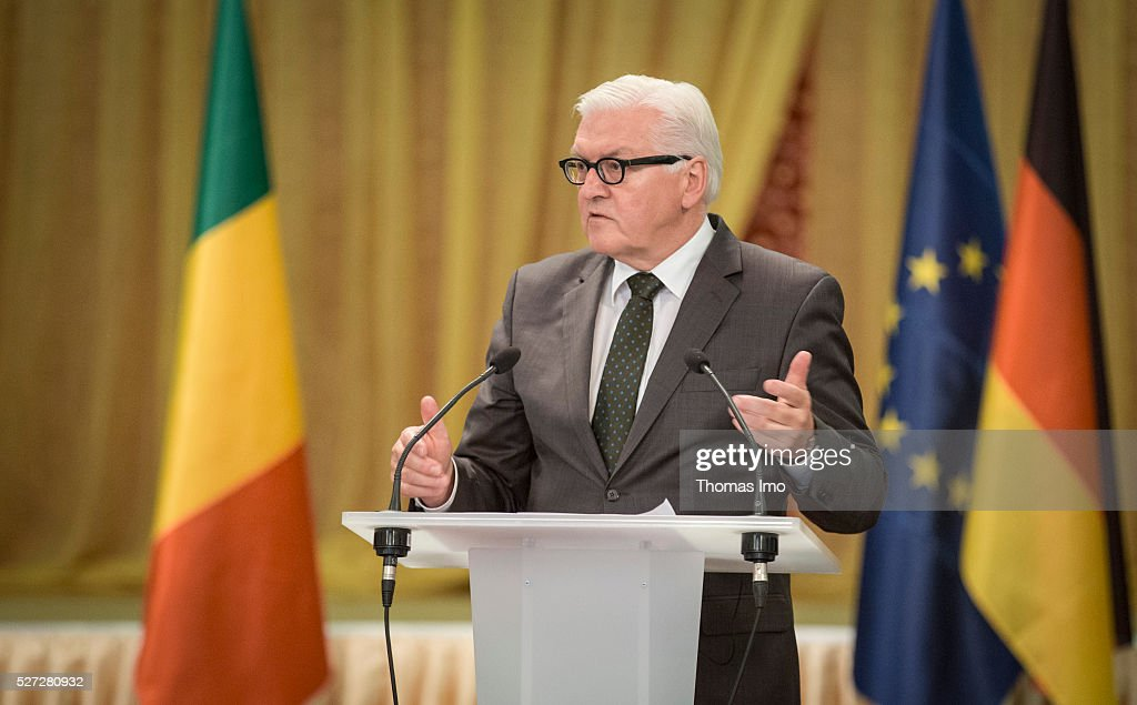German Foreign Minister <a gi-track='captionPersonalityLinkClicked' href=/galleries/search?phrase=Frank-Walter+Steinmeier&family=editorial&specificpeople=603500 ng-click='$event.stopPropagation()'>Frank-Walter Steinmeier</a> speaks to the media on May 02, 2016 in Bamako, Mali. Steinmeier and Foreign Minister of France Marc Ayrault (not pictured) visit Mali and Niger for political conversations.