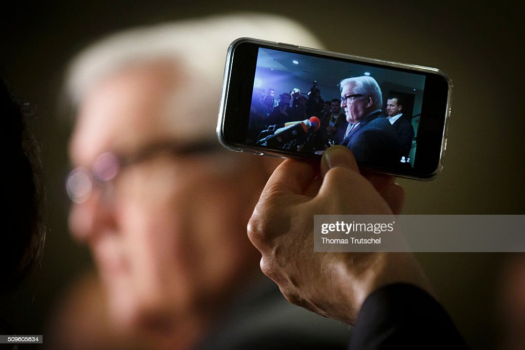 German Foreign Minister <a gi-track='captionPersonalityLinkClicked' href=/galleries/search?phrase=Frank-Walter+Steinmeier&family=editorial&specificpeople=603500 ng-click='$event.stopPropagation()'>Frank-Walter Steinmeier</a> speaks to the media after the meeting of the International Syria Support Group (ISSG) on Februar 12, 2016 in Munich, Germany. The participants will discuss the implementation of the Vienna principles, UN Security Council resolution 2254 on Syrian reconciliation and the continuation of the Geneva peace talks.