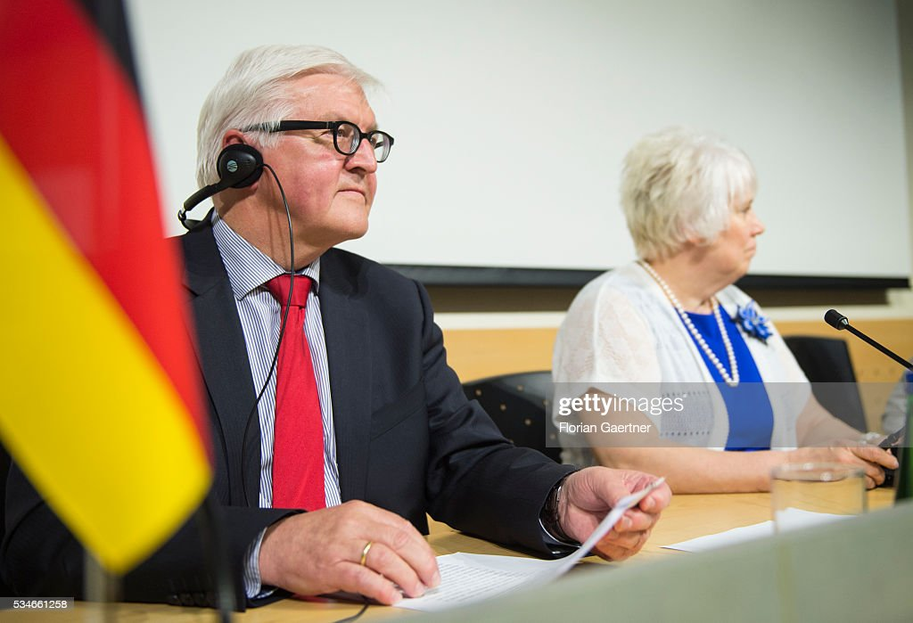 German Foreign Minister <a gi-track='captionPersonalityLinkClicked' href=/galleries/search?phrase=Frank-Walter+Steinmeier&family=editorial&specificpeople=603500 ng-click='$event.stopPropagation()'>Frank-Walter Steinmeier</a> (L) speaks to the media after his meeting with Estonian Minister of Foreign Affairs Marina Kaljurand on May 27, 2016 in Tallinn, Estonia. Steinmeier traveled to Lithuania, Latvia and Estonia for political conversations.