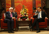 German Foreign Minister FrankWalter Steinmeier speaks with Chinese Premier Li Keqiang during their meeting at Zhongnanhai Leadership compound in...
