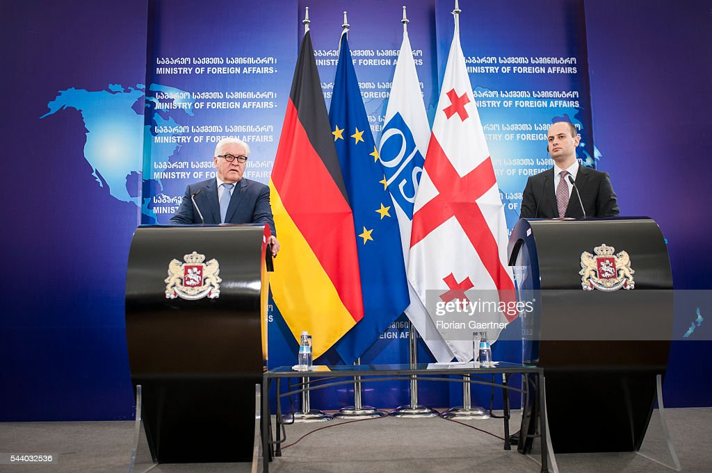 German Foreign Minister Frank-Walter Steinmeier (L) speaks with the media together with Michail Janelidze (R), Foreign Minister of Georgia, on July 01, 2016 in Tbilisi, Georgia. Walter Steinmeier visits the south caucasian countries Armenia, Azerbaijan and Georgia for political conversations.