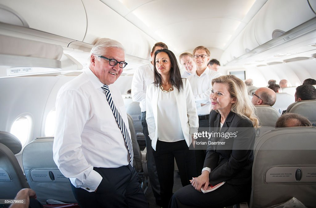 German Foreign Minister <a gi-track='captionPersonalityLinkClicked' href=/galleries/search?phrase=Frank-Walter+Steinmeier&family=editorial&specificpeople=603500 ng-click='$event.stopPropagation()'>Frank-Walter Steinmeier</a> talks in the government plane with the delegation on May 26, 2016 in Berlin, Germany. Steinmeier visits Lithuania, Latvia and Estonia for political conversations.