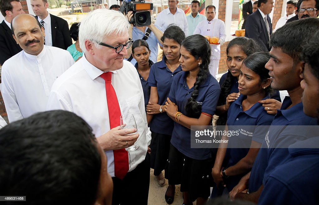 German Foreign Minister FrankWalter Steinmeier talks with students during the opening ceremony of Sri Lanka German Training Institute SLGTI on...