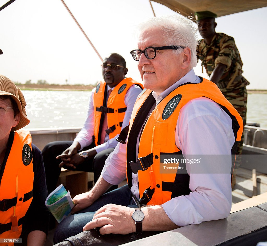 German Foreign Minister <a gi-track='captionPersonalityLinkClicked' href=/galleries/search?phrase=Frank-Walter+Steinmeier&family=editorial&specificpeople=603500 ng-click='$event.stopPropagation()'>Frank-Walter Steinmeier</a> travels on a boat on the river Niger on May 03, 2016 in Niamey, Niger. Steinmeier and Foreign Minister of France Marc Ayrault (not pictured) visit Mali and Niger for political conversations.