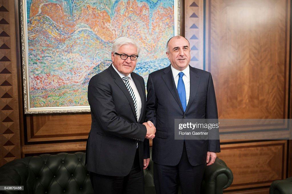 German Foreign Minister Frank-Walter Steinmeier (L) visits Elmar Mammadyarov (R), Foreign Minister of Azerbaijan, on June 30, 2016 in Baku, Azerbaijan. He visits the south caucasian countries Armenia, Azerbaijan and Georgia for political conversations.