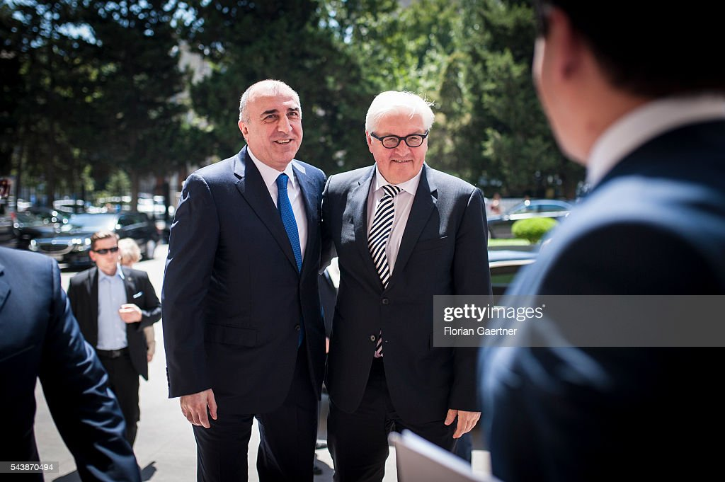 German Foreign Minister Frank-Walter Steinmeier (R) visits Elmar Mammadyarov (L), Foreign Minister of Azerbaijan, on June 30, 2016 in Baku, Azerbaijan. He visits the south caucasian countries Armenia, Azerbaijan and Georgia for political conversations.