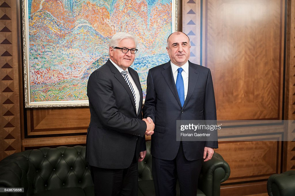 German Foreign Minister Frank-Walter Steinmeier (L) visits Elmar Mammadyarov (R), Foreign Minister of Azerbaijan, on June 30, 2016 in Baku, Azerbaijan. He visits the south caucasian countries Armenia, Azerbaijan and Georgia for political conversations.