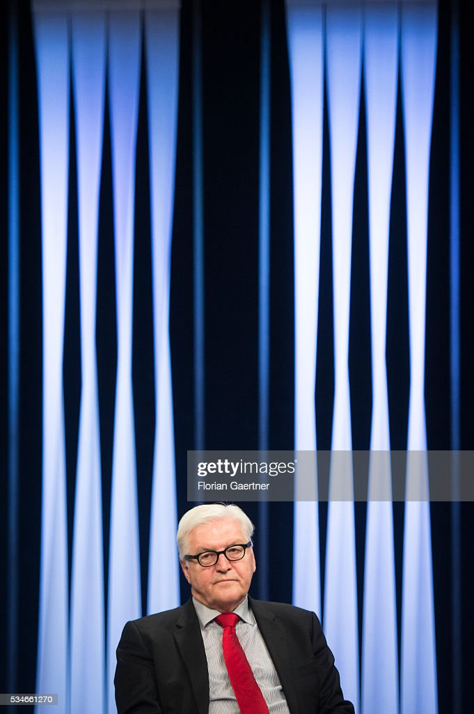 German Foreign Minister <a gi-track='captionPersonalityLinkClicked' href=/galleries/search?phrase=Frank-Walter+Steinmeier&family=editorial&specificpeople=603500 ng-click='$event.stopPropagation()'>Frank-Walter Steinmeier</a> visits LTV TV Station on May 27, 2016 in Riga, Latvia. Steinmeier traveled to Lithuania, Latvia and Estonia for political conversations.