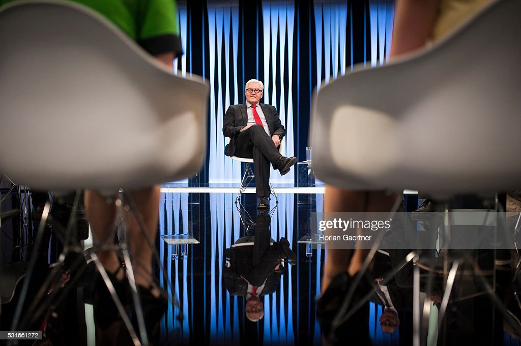 German Foreign Minister Frank-Walter Steinmeier visits LTV TV Station on May 27, 2016 in Riga, Latvia. Steinmeier traveled to Lithuania, Latvia and Estonia for political conversations.