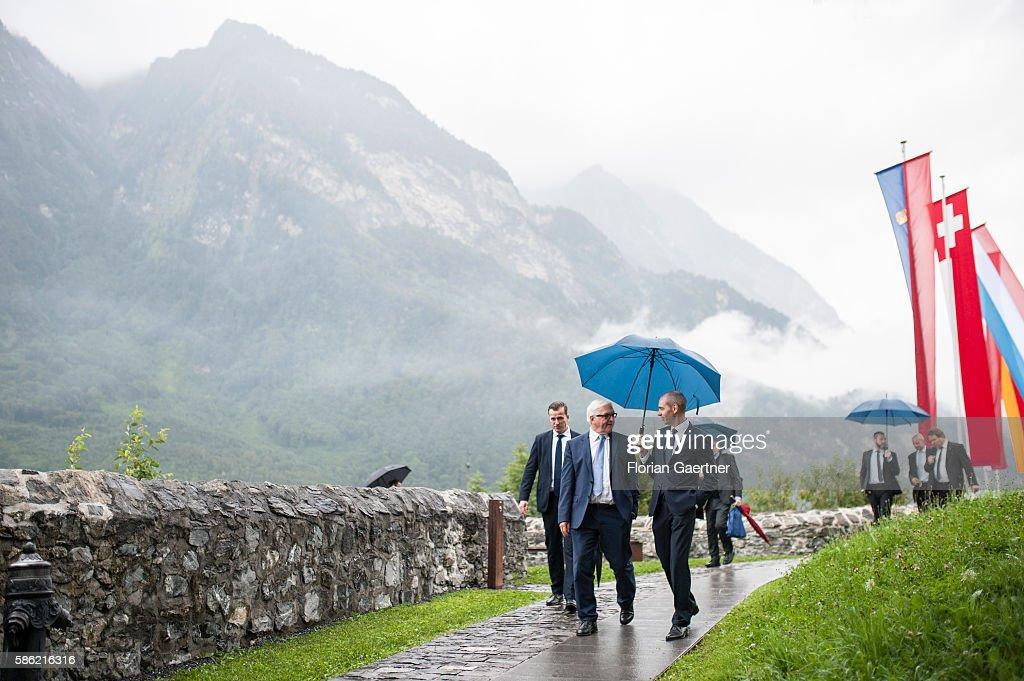 German Foreign Minister FrankWalter Steinmeier walks through Burg Gutenberg on August 05 2016 in Balzers Liechtenstein Steinmeier travels to...