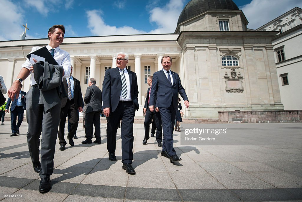 German Foreign Minister <a gi-track='captionPersonalityLinkClicked' href=/galleries/search?phrase=Frank-Walter+Steinmeier&family=editorial&specificpeople=603500 ng-click='$event.stopPropagation()'>Frank-Walter Steinmeier</a> walks through the oldtown on May 26, 2016 in Vilnius, Lithuania. Steinmeier travels to Lithuania, Latvia and Estonia for political conversations.