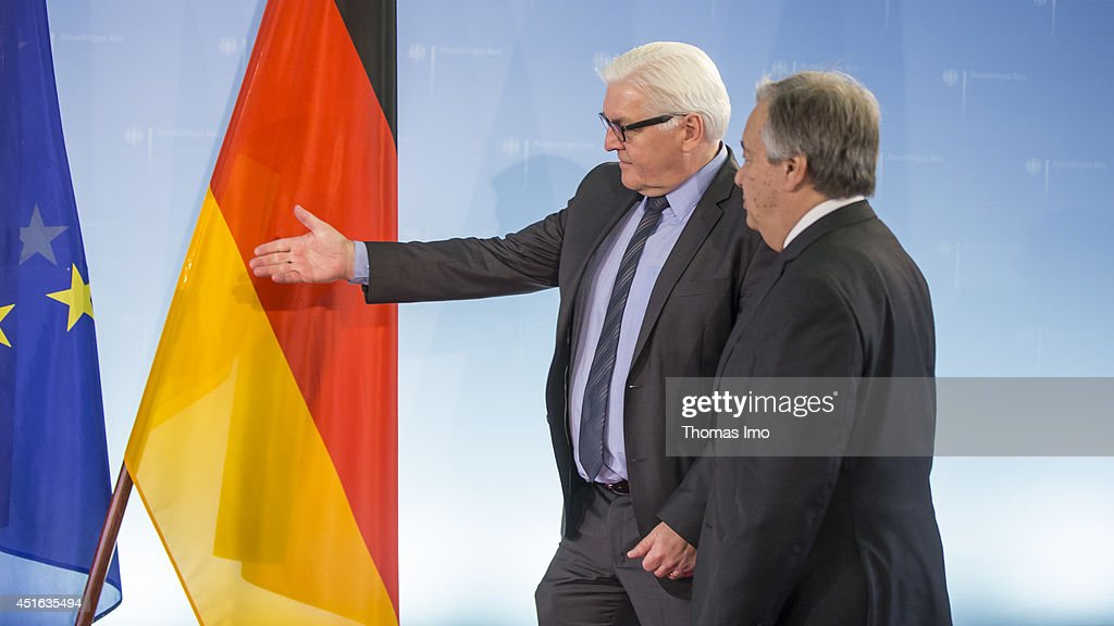 German Foreign Minister Frank-Walter Steinmeier welcomes United Nations High Commissioner for Refugees (UNHCR) Antonio Guterres to the Federal Foreign Ministry on July, 03 2014 in Berlin, Germany.