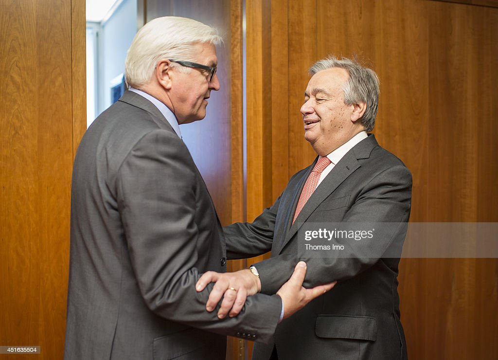 German Foreign Minister <a gi-track='captionPersonalityLinkClicked' href=/galleries/search?phrase=Frank-Walter+Steinmeier&family=editorial&specificpeople=603500 ng-click='$event.stopPropagation()'>Frank-Walter Steinmeier</a> welcomes United Nations High Commissioner for Refugees (UNHCR) <a gi-track='captionPersonalityLinkClicked' href=/galleries/search?phrase=Antonio+Guterres&family=editorial&specificpeople=553912 ng-click='$event.stopPropagation()'>Antonio Guterres</a> to the Federal Foreign Ministry on July, 03 2014 in Berlin, Germany.