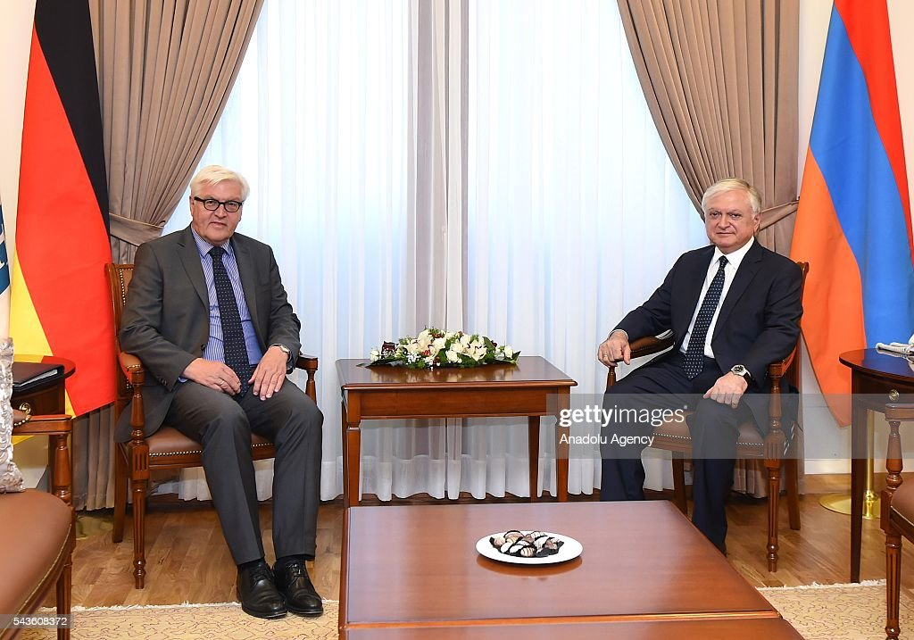 German Foreign Minister Frank-Walter Steinmeier (L), who currently chairs the Organisation for Security and Cooperation in Europe (OSCE) attends a meeting with Armenian Foreign Minister Edward Nalbandian (R), in Yerevan on June 29, 2016