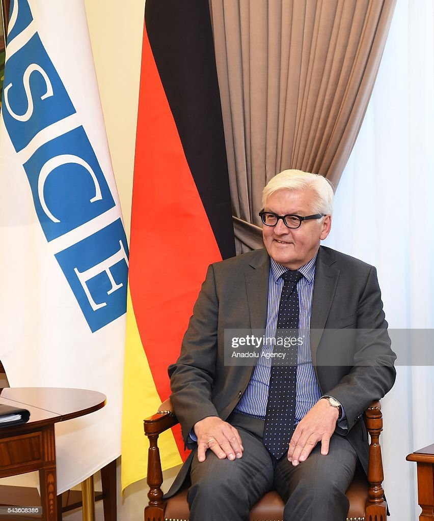 German Foreign Minister Frank-Walter Steinmeier, who currently chairs the Organisation for Security and Cooperation in Europe (OSCE) attends a meeting with Armenian Foreign Minister Edward Nalbandian (not seen), in Yerevan on June 29, 2016
