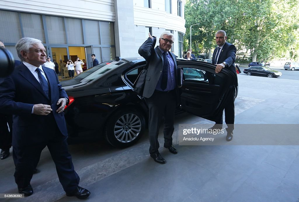 German Foreign Minister Frank-Walter Steinmeier, who currently chairs the Organisation for Security and Cooperation in Europe (OSCE) arrives to meet with Armenian Foreign Minister Edward Nalbandian (not seen), in Yerevan on June 29, 2016
