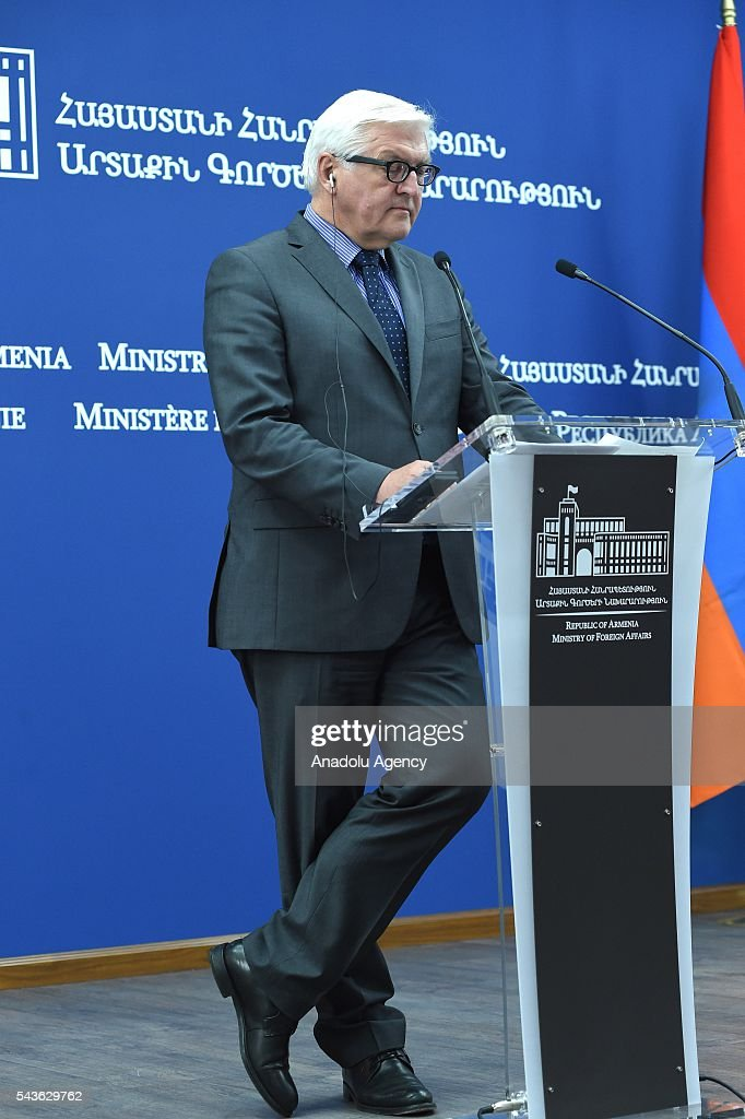 German Foreign Minister Frank-Walter Steinmeier, who currently chairs the Organisation for Security and Cooperation in Europe (OSCE) and Armenian Foreign Minister Edward Nalbandian (not seen) attend a press conference in Yerevan on June 29, 2016