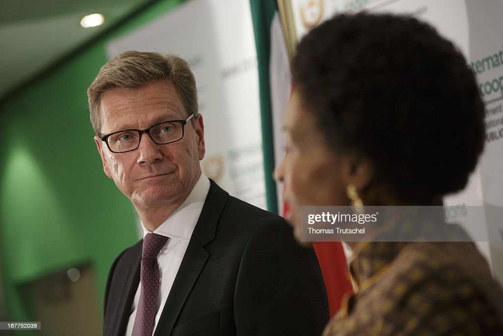 German Foreign Minister Guido Westerwelle (L) and Foreign Minister of South Africa, Maite Nkoana-Mashabane, speak to the media on April 29, 2013 in Pretoria, South Africa. Westerwelle is on a four day trip to Africa with Stops in Ghana, South Africa and Mozambique.