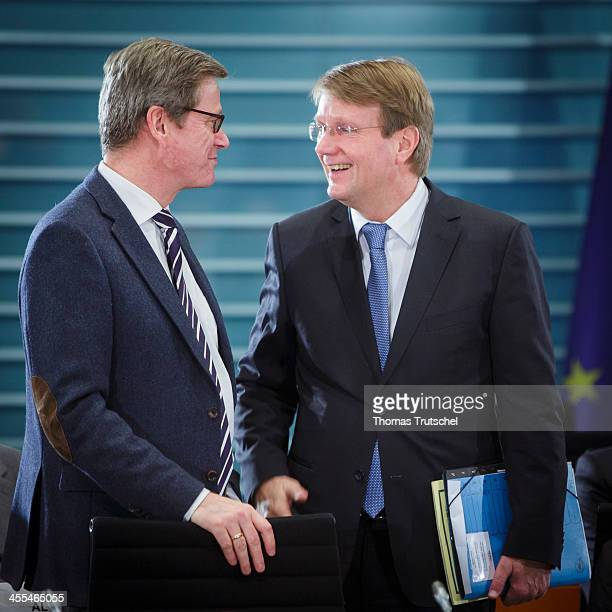 German Foreign Minister Guido Westerwelle and Head of the German Chancellery Ronald Pofalla arrives for German State Prime Minister Meet For Annual...