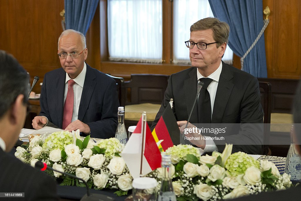 German Foreign Minister Guido Westerwelle (L) and his Indonesian counterpart Marty Natalegawa hold talks at the foreign office on February 10, 2013 in Jakarta, Indonesia. Westerwelle is with a economic delegation on a southeast asia tour, Jakarta is the end of his tour.