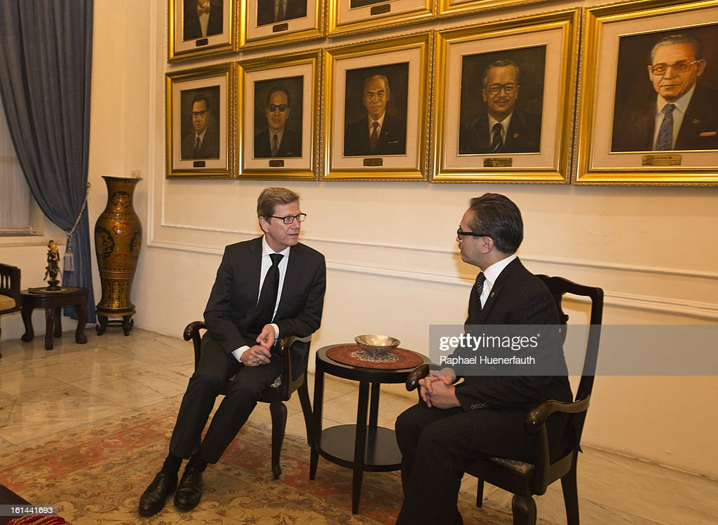 German Foreign Minister <a gi-track='captionPersonalityLinkClicked' href=/galleries/search?phrase=Guido+Westerwelle&family=editorial&specificpeople=208748 ng-click='$event.stopPropagation()'>Guido Westerwelle</a> (L) and his Indonesian counterpart <a gi-track='captionPersonalityLinkClicked' href=/galleries/search?phrase=Marty+Natalegawa&family=editorial&specificpeople=2862416 ng-click='$event.stopPropagation()'>Marty Natalegawa</a> hold talks at the foreign office on February 10, 2013 in Jakarta, Indonesia. Westerwelle is with a economic delegation on a southeast asia tour, Jakarta is the end of his tour.
