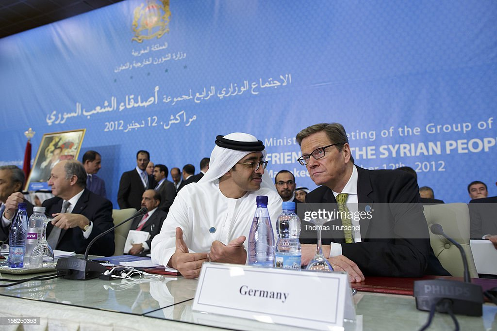 German Foreign Minister <a gi-track='captionPersonalityLinkClicked' href=/galleries/search?phrase=Guido+Westerwelle&family=editorial&specificpeople=208748 ng-click='$event.stopPropagation()'>Guido Westerwelle</a> (R) and Sheikh Abdullah bin Zayed bin Sultan Al Nahyan, United Arab Emirates minister of foreign affairs attends the 4th Ministerial Meeting of the Group of the Syrian People at Le Palais des Congres de la Palmeraie on December 12, 2012 in Marrakech, Morocco. The group of about two dozen nations met to discuss coordination of responses to humanitarian issues in Syria along with political opposition to the Syrian regime.