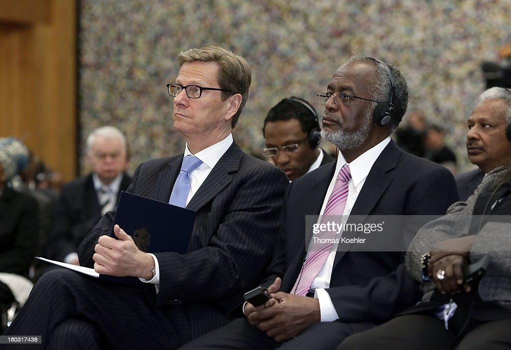 German Foreign Minister Guido Westerwelle (L) and Sudanese Foreign Minister Ali Karti (R) on a German, Sudanese and South Sudanese trilateral business conference at the Federal Foreign Office on January 29, 2013 in Berlin, Germany. Their talks will focus on the peace process between Sudan and South Sudan.