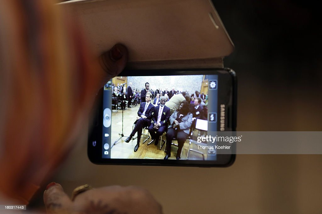 German Foreign Minister Guido Westerwelle and Sudanese Foreign Minister Ali Karti are seen on a Samsung camera phone during the German, Sudanese and South Sudanese trilateral business conference at the Federal Foreign Office on January 29, 2013 in Berlin, Germany. Their talks will focus on the peace process between Sudan and South Sudan.