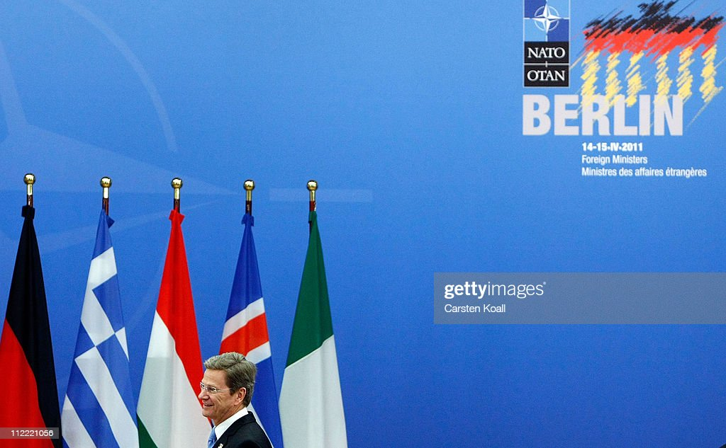 German Foreign Minister Guido Westerwelle arrives at an informal meeting of NATO member foreign ministers on April 15, 2011 in Berlin, Germany. The principal focus of the two-day meeting is the alliance's military involvement in the war in Libya, though it also includes special roundtables on the alliance's relationship to Russia, Ukraine and Georgia.