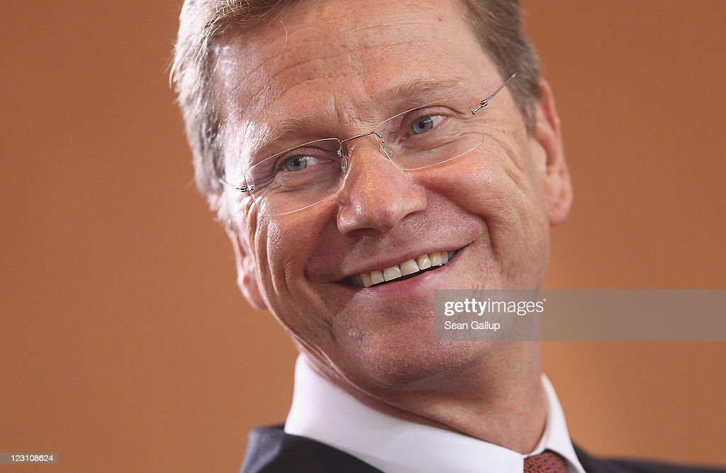 German Foreign Minister <a gi-track='captionPersonalityLinkClicked' href=/galleries/search?phrase=Guido+Westerwelle&family=editorial&specificpeople=208748 ng-click='$event.stopPropagation()'>Guido Westerwelle</a> arrives for the weekly German government cabinet meeting on August 31, 2011 in Berlin, Germany. Though Westerwelle received the backing of his political party, the German Free Democrats (FDP), at a party meeting the day before, his political future remains uncertain after controversy erupted over his initial reluctance to credit NATO military operations in playing a decisive role in helping Libyan rebels to defeat forces loyal to Moamer Gaddafi.
