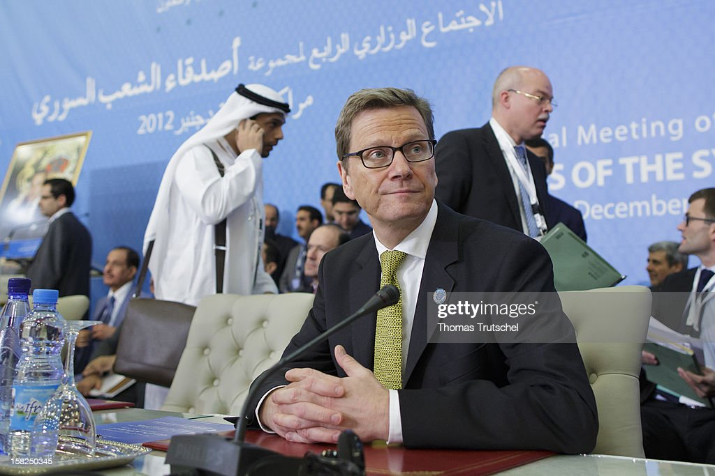 German Foreign Minister <a gi-track='captionPersonalityLinkClicked' href=/galleries/search?phrase=Guido+Westerwelle&family=editorial&specificpeople=208748 ng-click='$event.stopPropagation()'>Guido Westerwelle</a> attends the 4th Ministerial Meeting of the Group of the Syrian People at Le Palais des Congres de la Palmeraie on December 12, 2012 in Marrakech, Morocco. The group of about two dozen nations met to discuss coordination of responses to humanitarian issues in Syria along with political opposition to the Syrian regime.