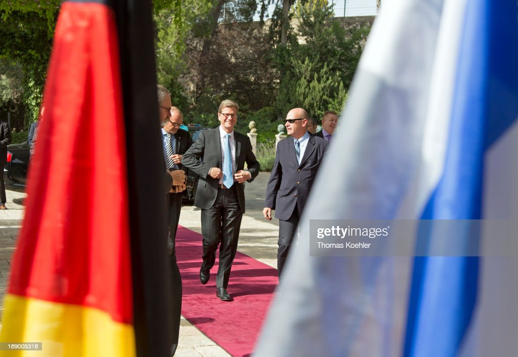 German Foreign Minister <a gi-track='captionPersonalityLinkClicked' href=/galleries/search?phrase=Guido+Westerwelle&family=editorial&specificpeople=208748 ng-click='$event.stopPropagation()'>Guido Westerwelle</a> before a meeting with Shimon Peres, President of Israel, on May 17, 2013 in Jerusalem, Israel. The issues topping the agenda are renewed efforts for the Middle East peace process, the crisis in Syria and the Iranian nuclear programme.