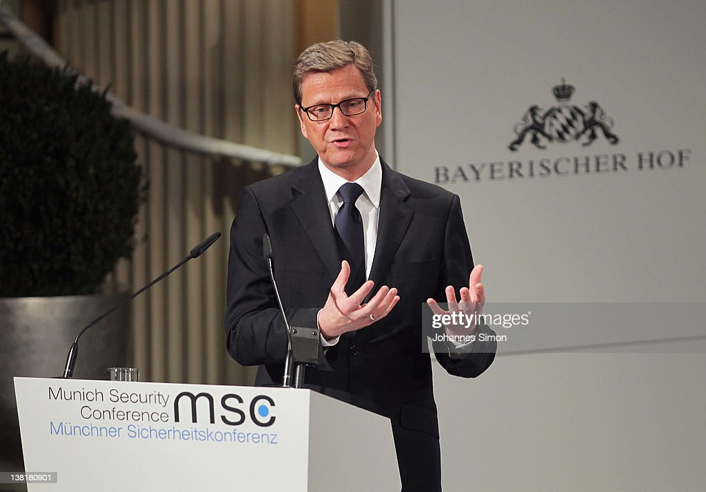 German Foreign Minister <a gi-track='captionPersonalityLinkClicked' href=/galleries/search?phrase=Guido+Westerwelle&family=editorial&specificpeople=208748 ng-click='$event.stopPropagation()'>Guido Westerwelle</a> delivers a speech during day 2 of the 48th Munich Security Conference at Hotel Bayerischer Hof on February 4, 2012 in Munich, Germany. The 48th Munich conference on security policy is running until February 5, 2012.